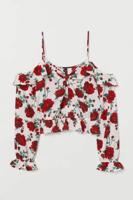 H&M Open-shoulder Blouse - White