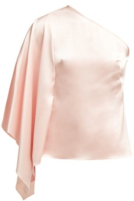 Osman Selma One-shoulder Satin Top - Womens - Light Pink