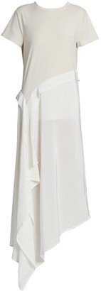Loewe Asymmetric Cotton & Silk T-Shirt Dress