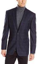 Vince Camuto Men's Grey Mini Check Sport Coat, Navy Windowpane
