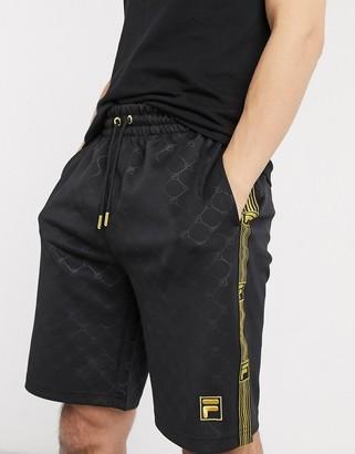Fila Parth tonal logo shorts in black