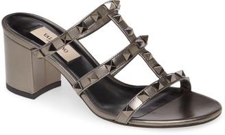 Valentino Rockstud Strappy Block Heel Slide Sandal