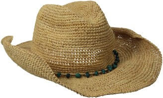 San Diego Hat Company Women's Crochet Raffia Cowboy Hat with Turquoise Hat with Beaded Trim