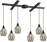 Bed Bath & Beyond Danica 6-Light Pendant Light with Mercury Glass and Oiled Bronze Finish