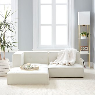 Pottery Barn Teen Cushy Piped Trim Sectional Set, Recycled Blend Chenille Ivory