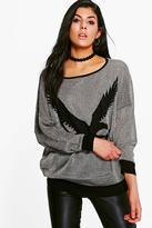 Boohoo Greta Eagle Print Sweatshirt