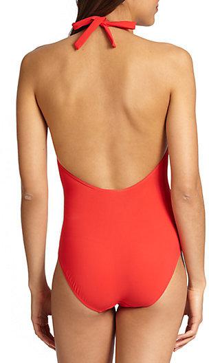 Tory Burch One-Piece Logo Halter Swimsuit