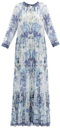 Camilla Talking About A Revolution-print Silk Maxi Dress - Blue Print