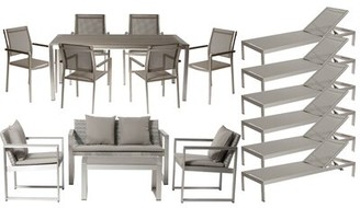 Wade Logan CHSTR 17 Piece Complete Patio Set with Cushions Frame Finish: Brushed Silver, Fabric: Gray