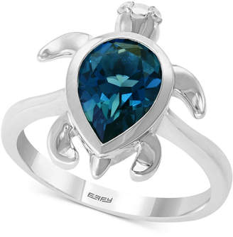 Effy London Blue Topaz (2-3/8 ct. t.w.) & Diamond Accent Turtle Ring in Sterling Silver