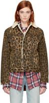 R 13 Brown Leopard Sky Trucker Jacket