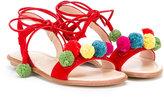 Aquazzura Mini - open toe sandals - kids - Cotton/Calf Leather/Leather/rubber - 28