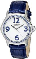 Stuhrling Original Chic Women's Quartz Watch with White Dial Analogue Display and Blue Leather Strap 592.01