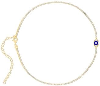 Sphera Milano 14K Yellow Gold Plated Sterling Silver CZ Evil Eye Tennis Choker Necklace