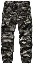 WSLCN Men's Jogging Army Camouflage Pants Sport Elastic Waist with Drawstring Black et White 32 W (Asian 34)