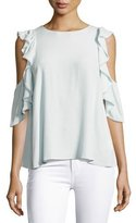 Rebecca Minkoff Monsoon Cold-Shoulder Ruffle Top, Light Blue