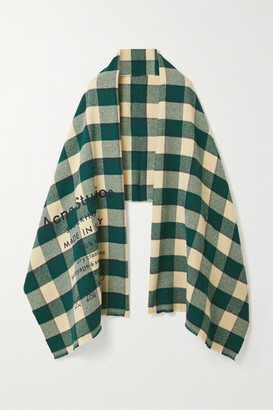 Acne Studios Checked Wool Scarf - Forest green