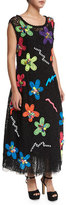 Marc Jacobs Neon Flower-Embroidered Guipure Dress, Black