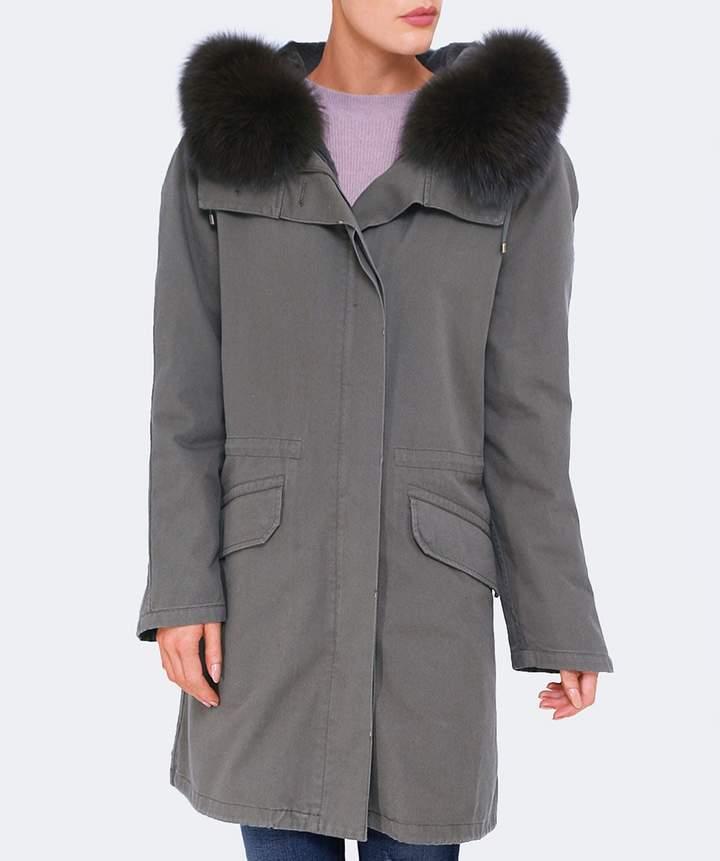 Yves Salomon Cotton Canvas Fur Lined Parka