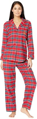 Lauren Ralph Lauren Petite Brushed Twill Long Sleeve Notch Collar Long Pants Pajama Set (Red Plaid) Women's Pajama Sets