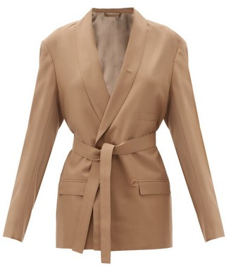 Lemaire Belted Double-breasted Canvas Jacket - Brown