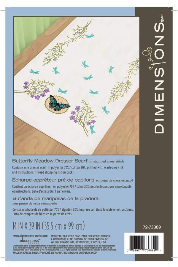 Dimensions 72-73889 Butterfly Meadow Dresser Scarf Kit, Stamped Cross Stich