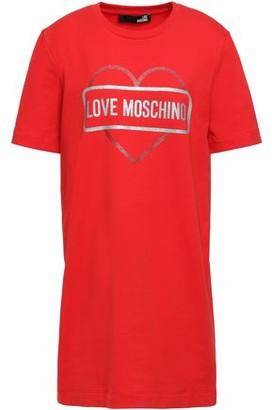 Love Moschino Printed Metallic Stretch-cotton Jersey Mini Dress
