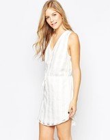 Adelyn Rae White on White Checked Tie Waist Dress