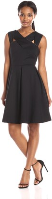 Nine West Women's Strappy Solid Fit and Flare Dress