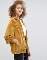Asos Premium Zip Up Hoodie in Velvet