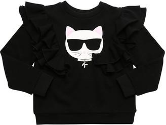 Karl Lagerfeld Paris Choupette Cotton Sweatshirt W/ Ruffles