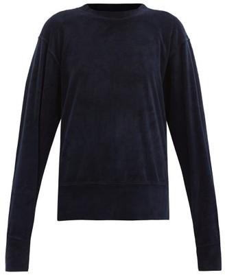 LES TIEN Brushed-back Cotton-blend Velour Sweatshirt - Navy