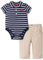 Little Me Boys' Striped Polo Bodysuit & Pants Set - Baby