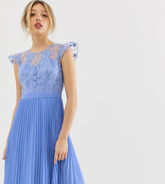 Chi Chi London midi dress with pleated skirt and embroidered top detail in cornflower blue