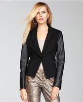 INC International Concepts Jacket, Faux-Leather-Sleeve Blazer