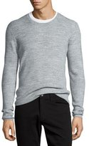 Vince Thermal Long-Sleeve Crewneck T-Shirt, Heather Mist
