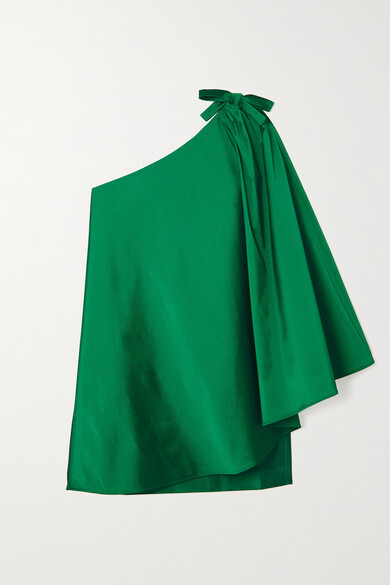 Thumbnail for your product : BERNADETTE Benedicte One-shoulder Cape-effect Taffeta Mini Dress - Green