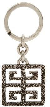 Givenchy 4g Logo Engraved Metal Key Ring - Mens - Silver
