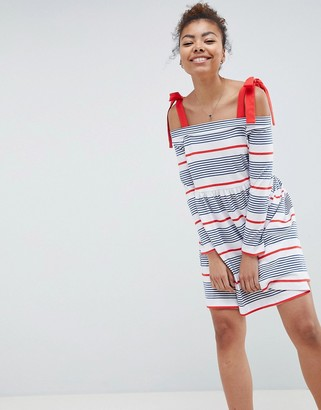 Asos DESIGN stripe cold shoulder smock sundress