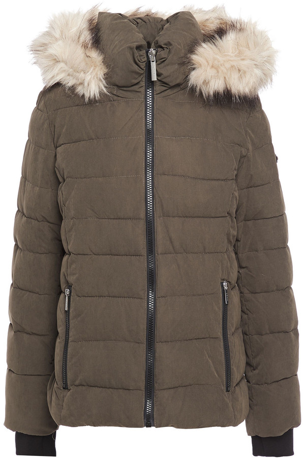 DKNY Faux Fur-trimmed Quilted Washed-twill Hooded Jacket