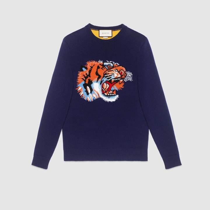 Gucci Wool sweater with tiger intarsia