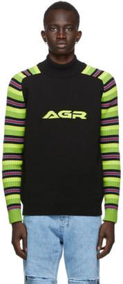 AGR SSENSE Exclusive Black Striped Logo Sweater