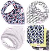 Dorri Baby Bandana Bibs and Burp Cloths, Unisex Pack of 3&3, 100% Organic Cotton, Bandana Drool Bib with Adjustable Snaps, Perfect Baby Gift Set for Boys and Girls