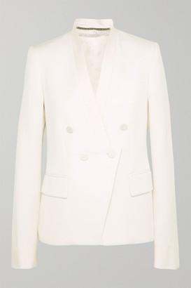 Stella McCartney Satin-trimmed Grain De Poudre Wool Blazer - Ivory