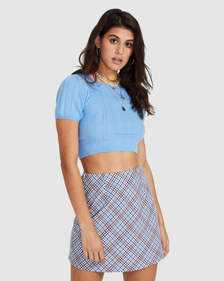 Alice In The Eve Cara Short Puff Sleeve Knit Top