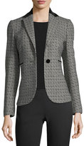 Kiton Honeycomb Jacquard One-Button Jacket