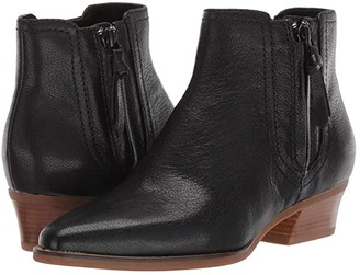Cole Haan Hadlyn Bootie (Black Leather/Antique Nylon Zip/Dark Natural Raw Stack) Women's Shoes
