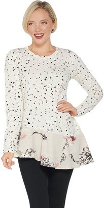 LOGO Lounge by Lori Goldstein Cotton French Terry Top w/ Angled Hem
