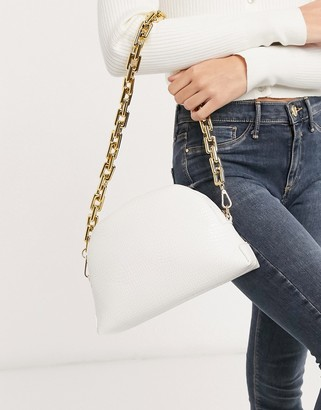 ASOS DESIGN half moon shoulder bag in white snake with chunky chain