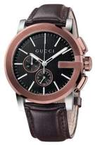 Gucci G-Chrono Collection PVD & Leather Strap Watch
